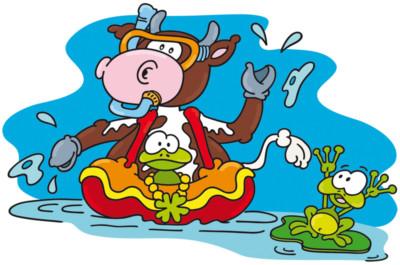 kinderhotels europa, kinderhotel felben, klara kleeblatt, artmaja, mario maja stroitz, comicart, comic, cartoon, maskottchen, familie, urlaub, kuh