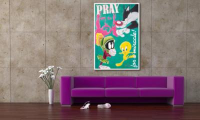 pray for a miracle, looney tunes, tweety, sylvester, god, artmaja, mario maja stroitz, popart, comitcart, contemporaryart, klagenfurt, artist, art, kunst