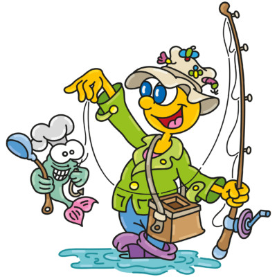 kinderhotels europa, kinderhotel, smiley, artmaja, mario maja stroitz, comicart, comic, cartoon, maskottchen, familie, urlaub, angeln, fisch