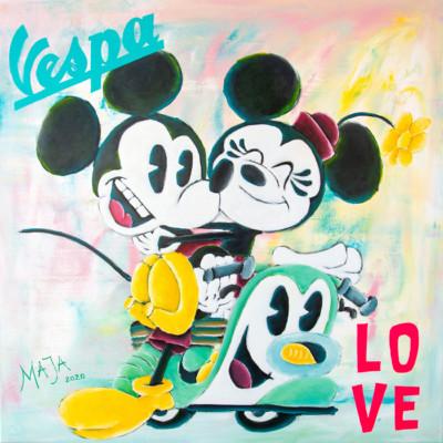 art, comic, kunst, austria, carinthia, mario maja stroitz, artmaja, popart, comic art, comicart, klagenfurt, vespa, love, mickey mouse, minnie mouse