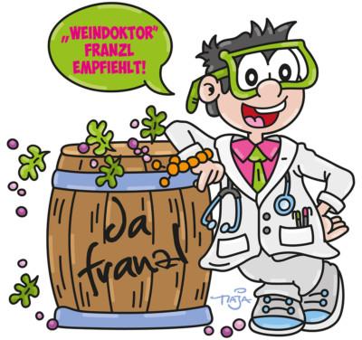 dafranzl, franzbayer, weingutfb, fb, Weingut, mariostroitz, maja, artmaja, grafik, maskottchen, wein, Jungwein, doktor, corona, weindoktor, etikett