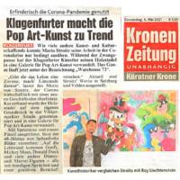 kronenzeitung, krone, artmaja, pop-art, mario maja stroitz, atelier, kunst, comic, popart, comickunst, populär, klagenfurt, austria, kunstwelt, kunstgalerie
