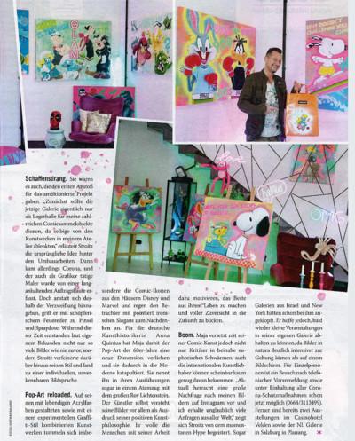 weekend magazin, artmaja, pop-art, mario maja stroitz, atelier, kunst, comic, popart, comickunst, populär, klagenfurt, austria, kunstwelt, kunstgalerie